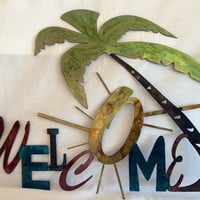 Welcome sign, beach themed, tropical hand painted