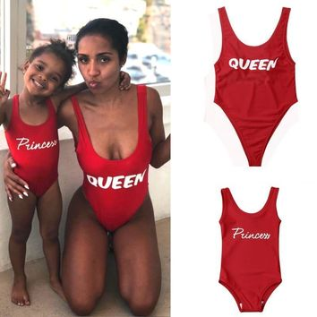 Red One Piece Swimsuit Letter Print Mommy And Me Swimwear