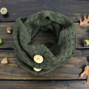 Olive Fall Scarf, Button Scarf, Cozy Cowl, Chunky Knit Scarf, Infinity Knit Scarf, Winter Scarves, Womens Knit Scarf, Open Knit Scarf,