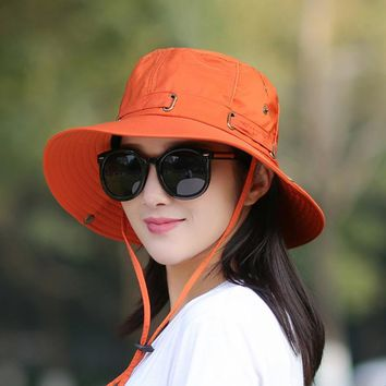 Sunhat Bucket Summer Men Women Fishing Boonie Hat UV Protection Long Large Wide Brim