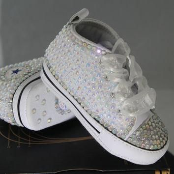 baby infant baptism christening custom converse crystal pearl studded shoes bab