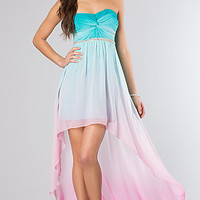 Strapless Ombre High Low Dress by City Triangles