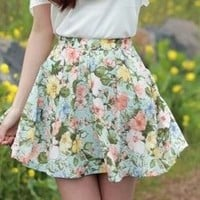 High Waisted Floral Skirt from Seek Vintage