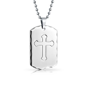 Mens Large Dog Tag Cross Pendant Necklace For Men Stainless Steel