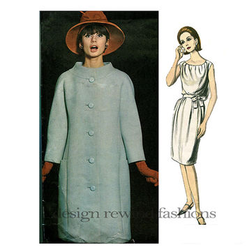 1960s Mod Shaped COAT & Grecian Style DRESS PATTERN Guy Laroche Designer Vogue Paris Original 1362 Bust 34 Women's Vintage Sewing Patterns