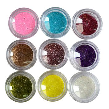 45pcs Mixed Color Set Nail Art Glitter Powder Dust For UV GEL Acrylic Decoration Tips DIY Manicure Styling Tools LANC228