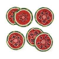 Watermelon Sisal Coasters - Set of 6 | housewarming gifts, summer gifts, unique decor