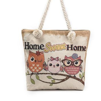 Cartoon Animal Print Owl Embroidered Canvas Shoulder Bags Floral Fabric Handbags For Women Big Shopping Bag Long Handle Tote Bag
