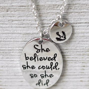 'She Believed She Could So She Did' Charm Pendant Necklace