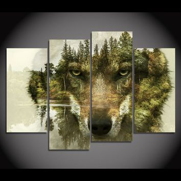 Wolf Of The Woods 4-Piece Wall Art Canvas