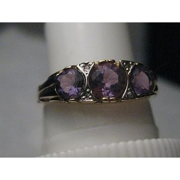 Vintage 14kt Triple Amethyst Ring, Diamond Accents, Victorian Themed, Size 7, 2.69 gr., .56TCW