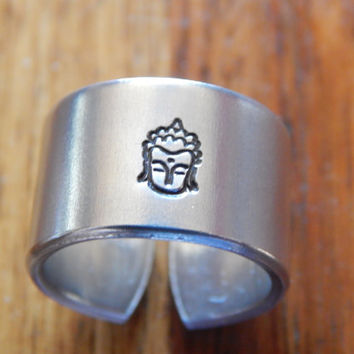 Buddha Cuff Ring,Yoga Namaste Meditation Inspirational Gift Under 20
