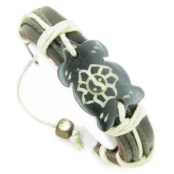 Amulet Genuine Leather Adjustable Bracelet with Turtle Yin Yang Lotus Symbol Lucky Charm