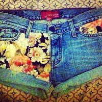 Floral denim shorts  by AngeliqueMerici on Etsy