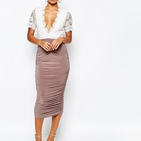 Club L Crochet Detail Midi Dress with Slinky Ruched Midi Skirt