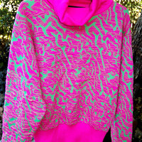 Vintage Snuggler Ski Wear Seattle Neon Pink & Green Abstract Graphic Squiggle Print Cowlneck Sweater Size L