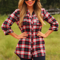 Princess Of Plaid Top: Navy/Red - One