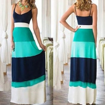 Spaghetti Strap Boho Maxi Dress