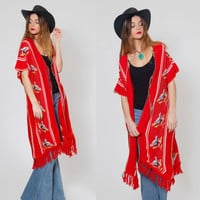 Vintage 70s Red Knit Poncho Ethnic BIRD Print Cape Hippie Poncho Boho Poncho Knit Maxi Duster