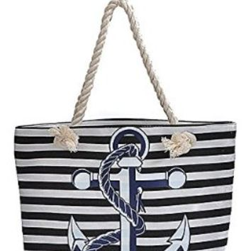 Nautical Navy Sailor Striped Large Anchor Logo Rope Handles Tote Bag