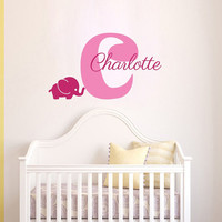 Personalized Name Decal Boy Girl Nursery Elephant Initial Deca Wall Decal Vinyl Sticker Wall Decor Home Interior Design Art Mural vk107