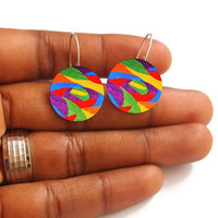 Circle Earrings - FREE SHIPPING to USA dye sublimation art earrings artsy jewelry hipster sterling silver primary colors silver dangle