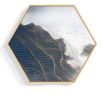 Artistic  Landscape Hexagon 27.5'' Mural Painting