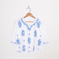 India Top India Shirt India Blouse India Tunic Top India Embroider Top White Blue Embroider Blouse 70s Hippie Top Boho Top S Small M Medium