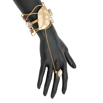 Gold and Crystal Leaf Design Cuff Bracelet and Ring Hand Chain