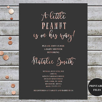 Baby Shower Invitation Rose Gold Baby Shower Invitation Gender Neutral baby Shower Invitations Printable Baby Shower Digital Files (v43)