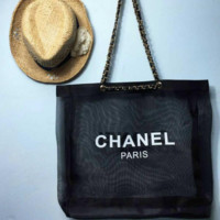 CHANEL black Women Shopping Leather Handbag Tote Satchel Shoulder Bag