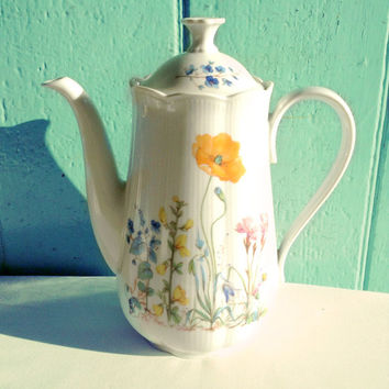 Floral vintage coffee pot with orange poppies and mixed flowers - german china - tea pot - teapot