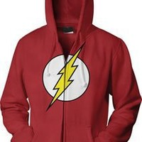 The Flash Icon Men's Red Zip-Up Hooded Sweatshirt Hoodie