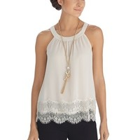 White House | Black Market Sleeveless Tiered Lace Shell Top