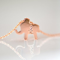 Rose Gold Elephant Necklace - Personalize Initial Necklace - Simple Necklace - Everyday Necklace - Good Luck Necklace - Gift