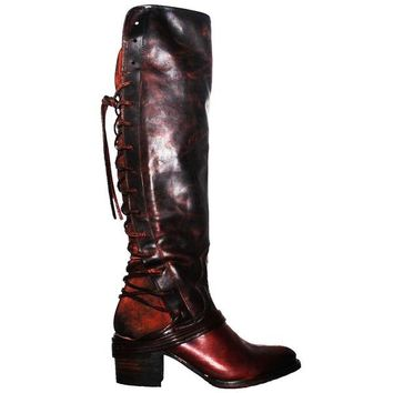 Freebird Coal - Brown Multi Leather Over-The-Knee Back Lace Boot