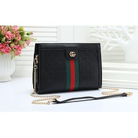 """GUCCI"" embossed handbags fashion trend wild ribbon chain crossbody shoulder bag Black"
