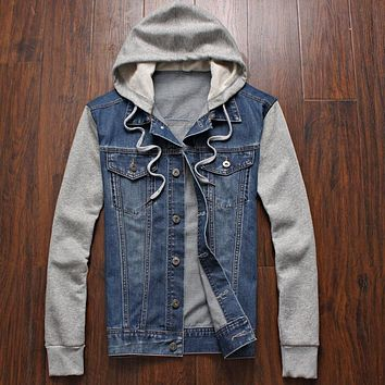 Denim Jacket men hooded sportswear Outdoors Casual fashion Jeans Jackets Hoodies Cowboy Mens Jacket and Coat