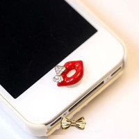 eBADA Red Lip with Butterfly Iphone 5 iphone 4 4s Home Return Keys Buttons Sticker For iPhone 4S iPhone 5 iPod Touch iPad Repair Fix Replace Replacement