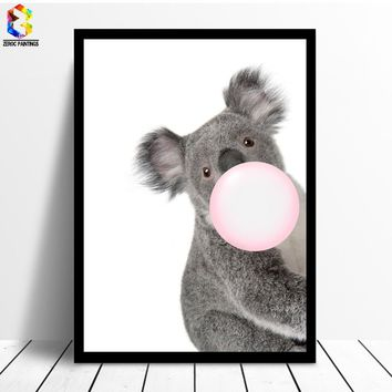 Kawaii Bubble Painting of Koala Canvas Art Print Poster, Animal Wall Picture for Living Room Decoration Home decor