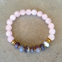 "Botswana Agate and Pink Quartz ""Emotional Healing"" Bracelet"