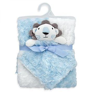 ROSETTE BABY BLANKET WITH LOVEY - BLUE LION