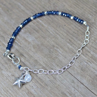 Sapphire Bracelet Silver Chain Star Bracelet Sapphire Stacking Bracelets FizzCandy Holiday Style Trendy Jewelry Silver Star Jewelry
