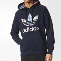 Adidas Fashion New Bust Colorful Letter Print Thick Keep Warm Hooded Long Sleeve Sweater Top Navy Blue