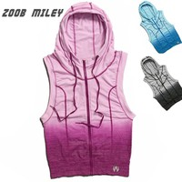 ZOOB MILEY Women Running Sports Hoodies Jackets Sleeveless Gradient Color Gym Fitness Vest Coats Super Elastic Tight Tank Tops