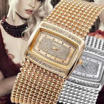 Lady Women Watch Crystal Dial Watches Rectangle Alloy Beads Chain Band Bracelet Watch Analog Quartz Wrist Watches Gifts LL@17