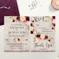 Burgundy Rustic Wedding Invitation Printable Wedding Invite Cranbery Blush Wedding Invitation Suite Floral Wedding Invite Boho Wedding DIY