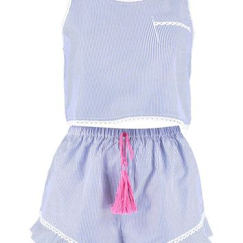 Crochet Trim Stripe Cami & Short Set