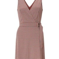 Rust D-Ring Check Pinafore Dress