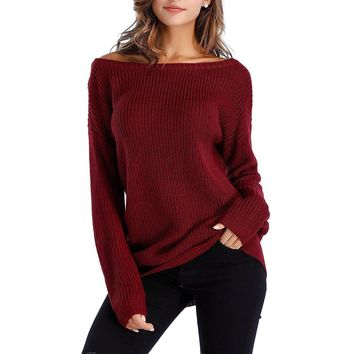 Women's Burgundy Off The Shoulder Slouchy Pullover Sweater